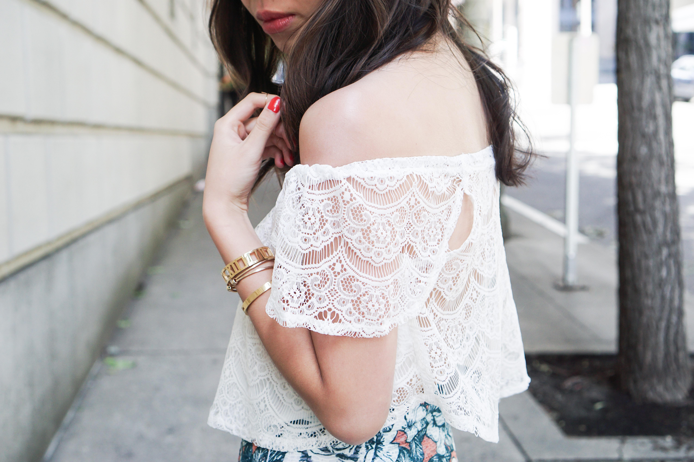 Off The Shoulder Crop Tops+Maxi Split Skirt+Shorts