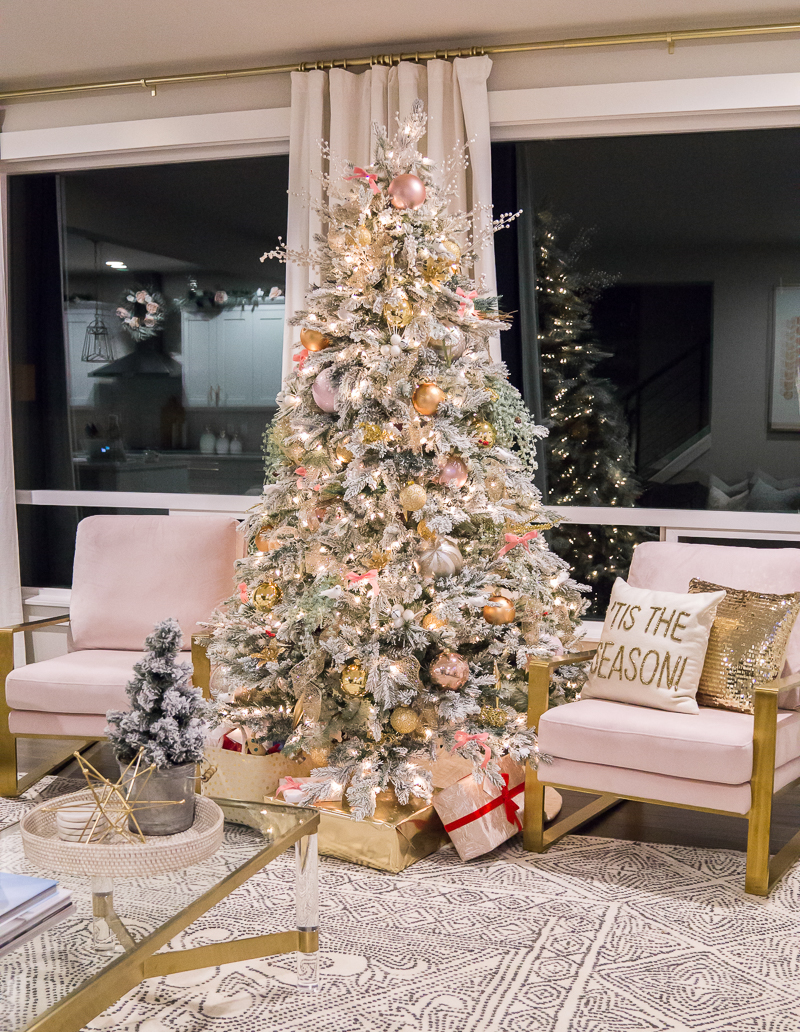 Holiday Home Tour Pink Gold Christmas Decorations 2019 Just A Tina Bit