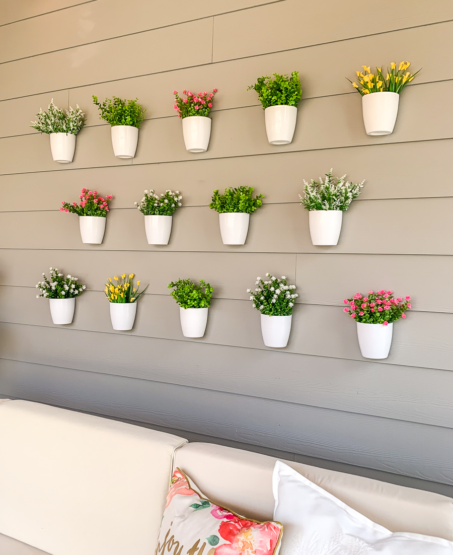Justatinabit Diy Plant Wall Patio Outdoor Decor Faux Flowers Hanging White Pots Easy Project Outdoor Furniture 10 Just A Tina Bit